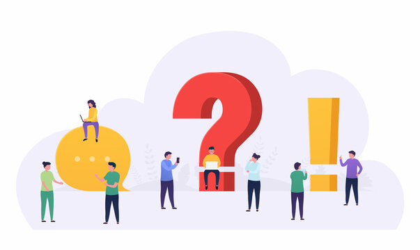 People standing near a question and exclamation mark ask  questions, looking answers around big question mark, online communication. Concept  online support, information search.