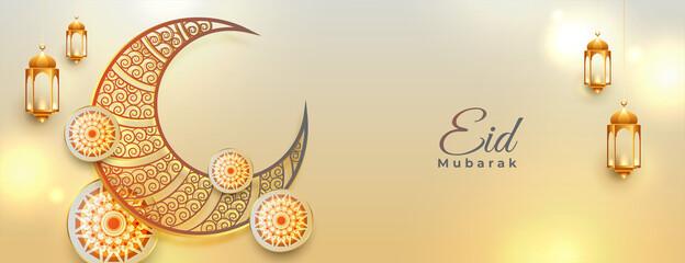 Fototapeta eid mubarak decorative banner in islamic style