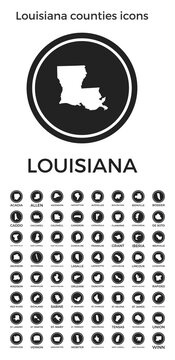 Louisiana counties icons. Black round logos with us state counties maps and titles. Vector illustration.