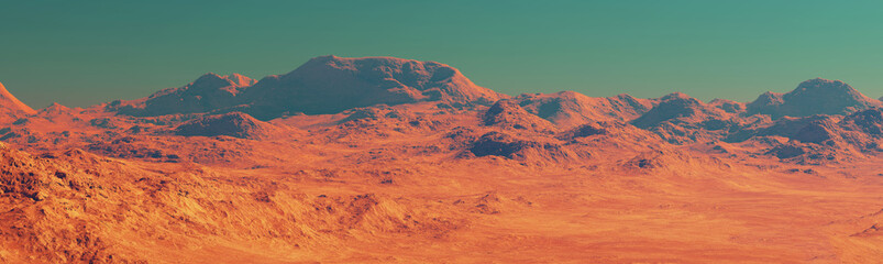 Wall Murals Coral Mars landscape, 3d render of imaginary mars planet terrain, orange desert with dust and mountains, realistic science fiction illustration.