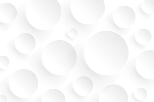 Abstract white background with 3D circles pattern, interesting white grey vector  background illustration.