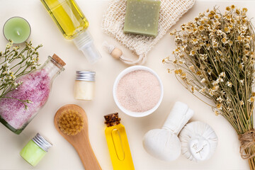 Fototapeta Spa homemade skin care and body cosmetics with natural ingredients.