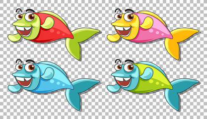 Set of many fishes cartoon character isolated on transparent background