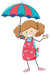 Cute girl holding umbrella doodle cartoon character isolated