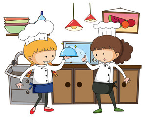 Little chef with kitchen equipments on white background