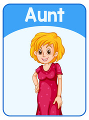 Educational English word card of aunt