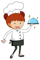 Little chef serving food cartoon character