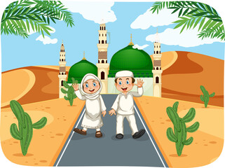 Outdoor scene with muslim boy and girl cartoon character