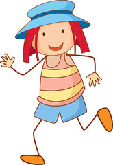 A girl wearing hat cartoon character in hand drawn doodle style