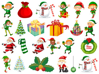 Set of Elves cartoon character and Christmas objects isolated on white background