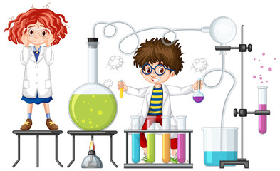 Students experiment with chemistry items