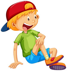 A happy boy sitting cartoon character on white background