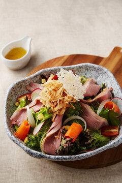 Salad Smoked duck breast salad with yuzu dressing