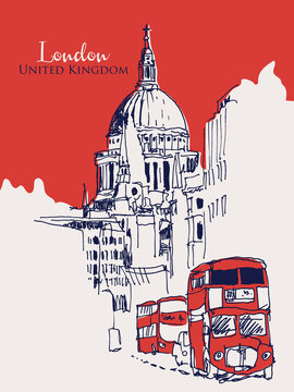 Drawing sketch illustration of London, UK