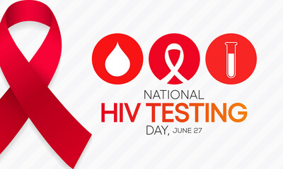 Obraz HIV Testing day is observed every year on June 27th to encourage people to get tested for (human immunodeficiency virus), know their status, and get linked to care and treatment. Vector illustration. - fototapety do salonu