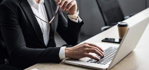 Fototapeta Man hands typing on computer keyboard closeup, banner. Businessman or manager using laptop, internet marketing, office workplace, white collar worker, entrepreneur concept obraz