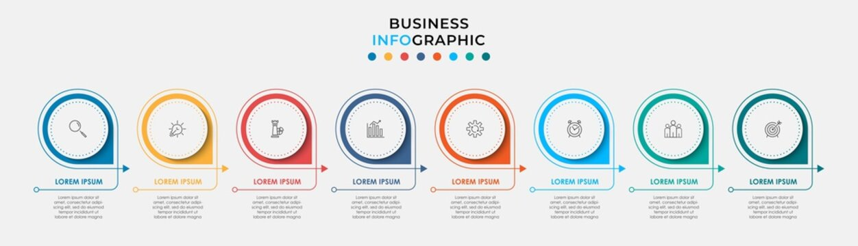 Minimal Infographic circle label design business vector template with icons and 8 options or steps. Can be used for process diagram, presentations, workflow layout, banner, flow chart, info graph