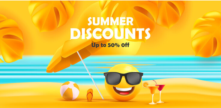 Summer sale poster with 3d smiley face in sunglasses under sun umbrella with tropical leaves and sea waves