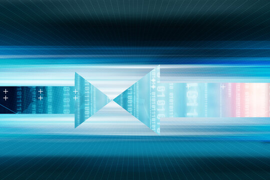 Arrows pointing to each other in front of data highspeed transfer lines - digital world concept