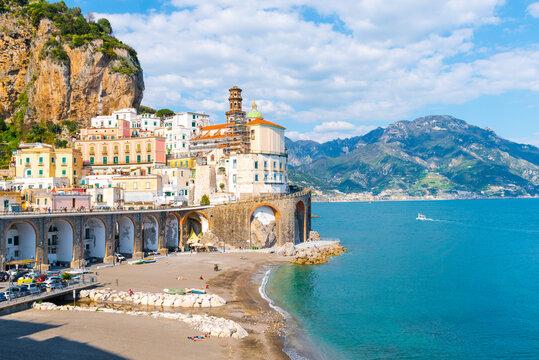Panoramic view of Atrani - Italian seaside town on coastline of Tyrrhenian Sea
