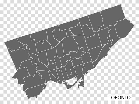 High Quality map of  Toronto is a city in Canada, with borders of the regions. Map of Toronto for your web site design, app, UI. EPS10.