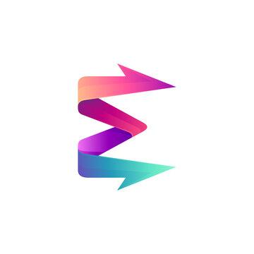 Arrow letter E logo design template with gradient color