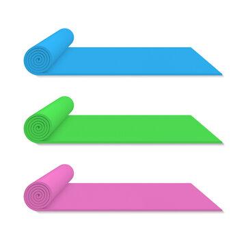 Set realistic rolled yoga mats vector illustration sports equipment for meditation exercising