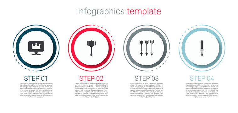 Set Location king crown, Hammer, Crossed arrows and Medieval sword. Business infographic template. Vector