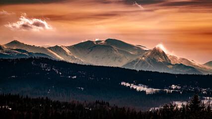 Fototapeta Zachód słońca w Tatrach