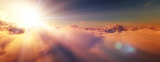 Fototapeta above clouds fly sunset sun ray