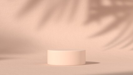 Fototapeta abstract podium showcase for product placement in pastel natural shadow leaves background