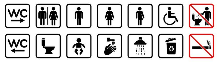 Obraz Toilet icons set, WC signs, toilet signs, bathroom symbol, vector illustration - fototapety do salonu