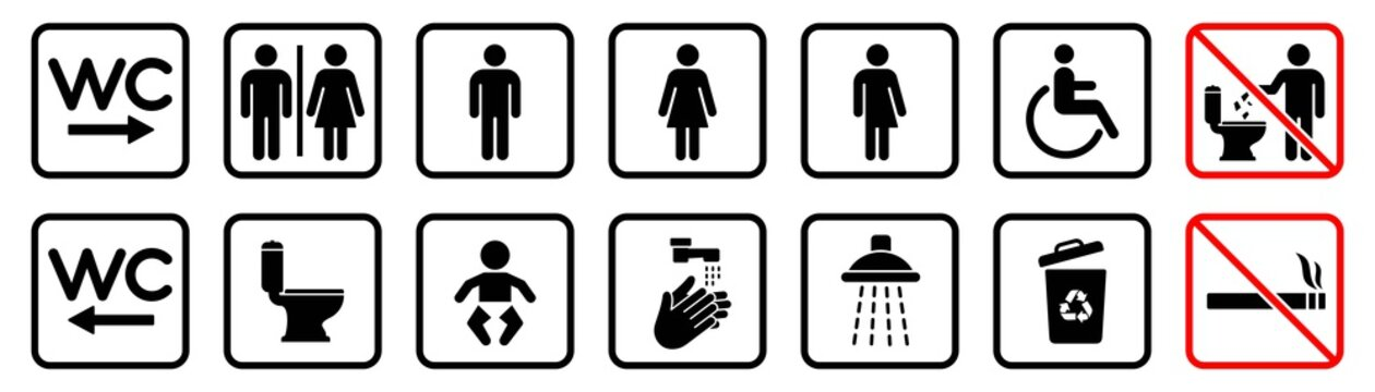 Toilet icons set, WC signs, toilet signs, bathroom symbol, vector illustration