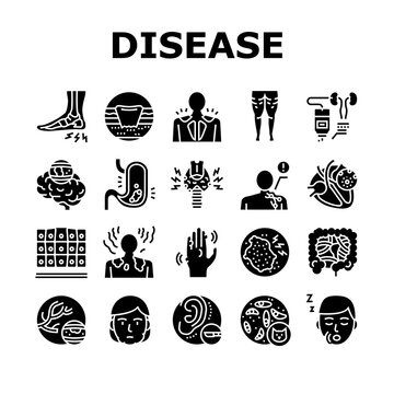 Disease Human Problem Collection Icons Set Vector. Epithelial Tissue And Toxoplasmosis, Ear Surgery And Cellulite, Skin Itch And Lymphoma Disease Glyph Pictograms Black Illustrations