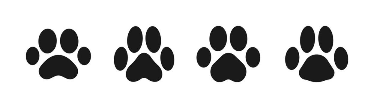 Black animal footprints set. Silhouette of paw print. Animal (dog, cat) paw prints. Vector illustration.
