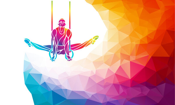 Gymnastics Rings Silhouette on color geometric background