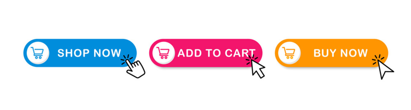 Add to cart button. Set of web buttons with shopping cart icon. Buy button for online store. Vector illustration.