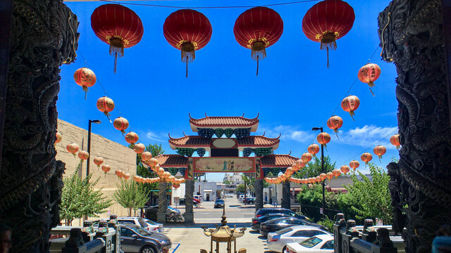 Chinese architecture temples, buildings and pagodas inside Chinatown in Los Angeles, California