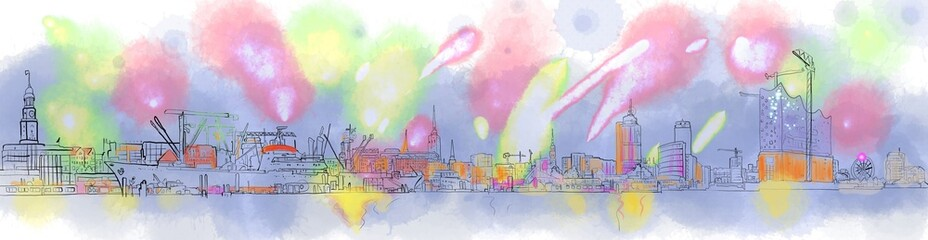 Fototapeta Hamburg City - Silhouette Watercolor digital Art