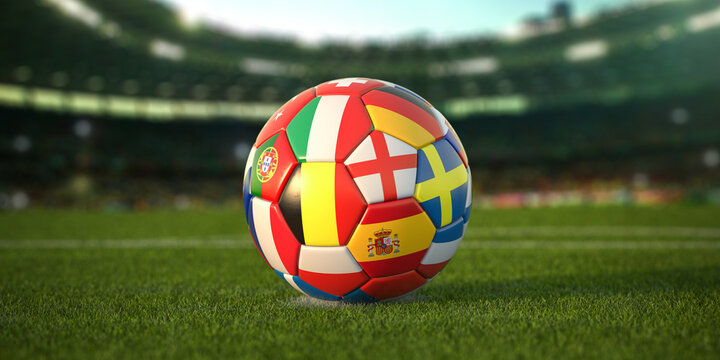 Soccer Football ball with flags of european countries on the grass of football stadium. Euro championship 2021.
