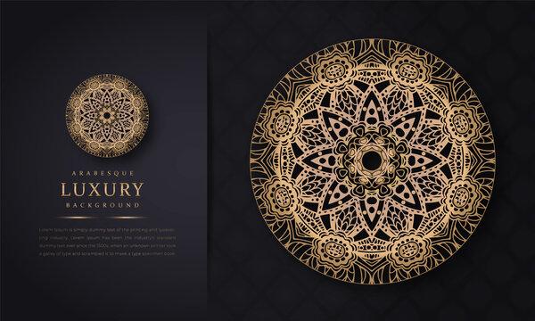 luxury ornamental mandala design background in gold color, arabesque pattern arabic islamic east style for Wedding card, Luxury ornamental mandala design background with golden arabesque