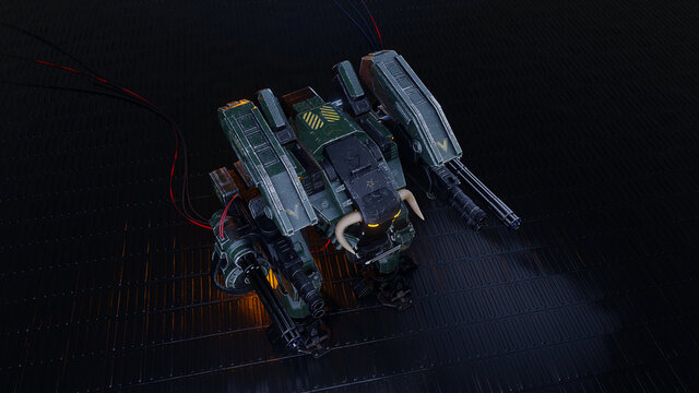 battle robot on a dark background. 3D Rendering