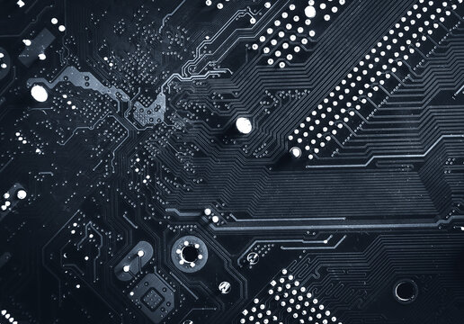 Modern printed circuit board, electronic board, textolite. Abstract banner background. Communication concept.