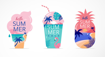 Fototapeta Summer time fun concept design. Creative background of landscape, panorama of sea and beach on pineapple, ice cream and smoothie shake glass. Summer sale, post template obraz
