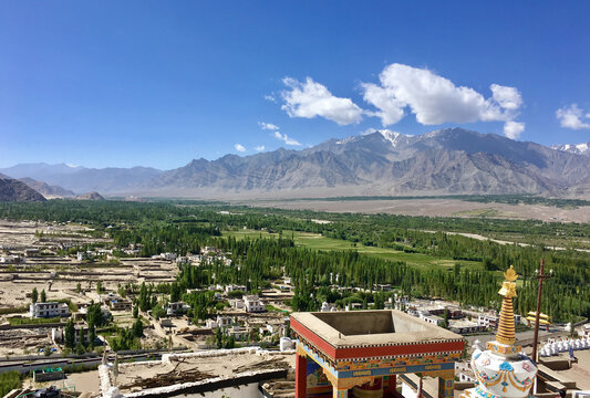 Shey is a village in the Leh district of Ladakh, India. It is located 15 km. from Leh towards Hemis. The old summer Palace of the kings of Ladakh is located here
