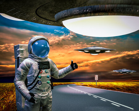 Astronaut's spaceship broke down hoping to hitchhike a ride with the extraterrestrials flying saucer.