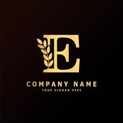 Fototapeta Alphabet capital logo creative design luxury concept with leaf ornament silhouette for
