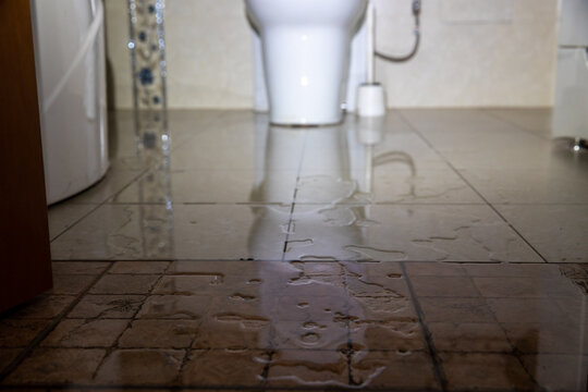 Water damage due a broken pipe or toilet. Moisture problem and wet floor. Horizontal, selective focus