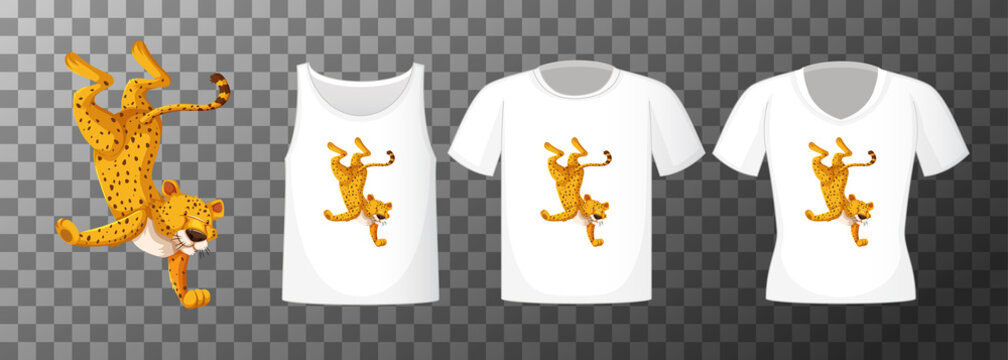 Set of different shirts with leopard dancing cartoon character isolated on transparent background