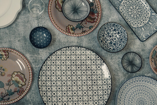 Beautiful traditional Moorish porcelain ceramic plates. illustrated middle eastern design. Marrakech Morocco. High quality photo